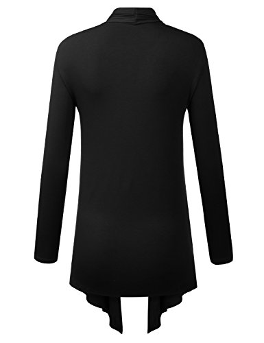 Because I Love You Women's Open Front Drape Hem Lightweight Cardigan - X-Large - Black by B.I.L.Y (Image #3)