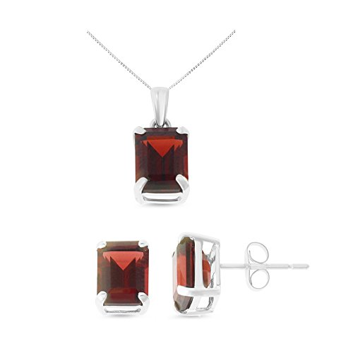 14K White Gold 6 x 8 mm. Emerald Cut Genuine Garnet Earrings + Pendant Set With Square Rolo Chain