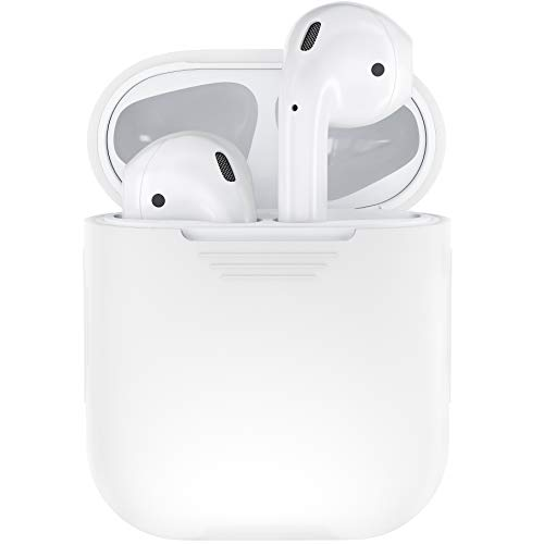 (PodSkinz AirPods Case Protective Silicone Cover and Skin Compatible with Apple AirPods 1 & AirPods 2 [Front LED Not Visible] (Clear))