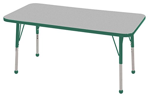 ECR4Kids 24'' x 48'' Rectangular Activity School Table, Toddler Legs w/Ball Glides, Adjustable Height 15-23 inch (Grey/Green) by ECR4Kids