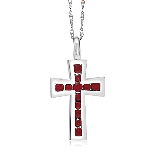 10K Solid White Gold 0.5 Inch Red Ruby Cross Pendant with 18 Inch 10K White Gold Chain