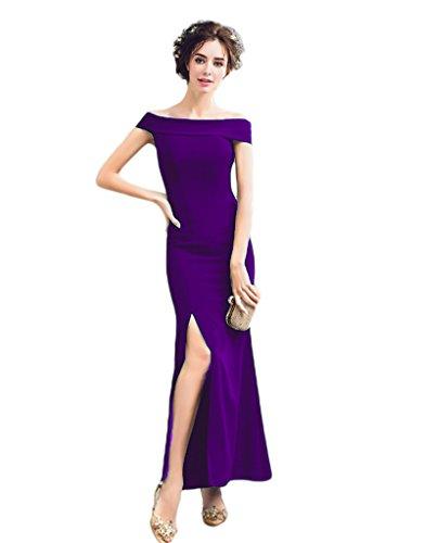 Dreagel Robes De Soirée De Bal Longue Fente De Robes De Demoiselle D'honneur Formelle Épaule Violet