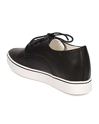Sneaker Collection Pointy Up Lace Flatform Women Leatherette Collection Toe Hearts Hearts Black EI81 YqwEzPH