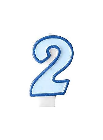 PartyDeco Vela de cumpleaños Azul número 2: Amazon.es ...