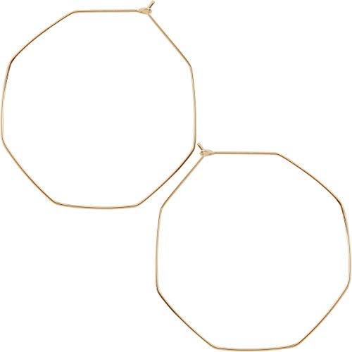 Humble Chic Octagon Hoop Earrings - Hypoallergenic Lightweight Open Wire Threader Drop Dangles for Women, Octagon 18K Yellow, Gold-Electroplated, 2 inch