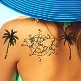 Tattoo ID XXL Damen Weltkarte Palme Schmetterling Stern Satz Origami Anker Feder Tattoo Ephemere temporäre Hypoallergen hergestellt in Frankreich 1Bogen 22cm x 14,5cm Herren Damen