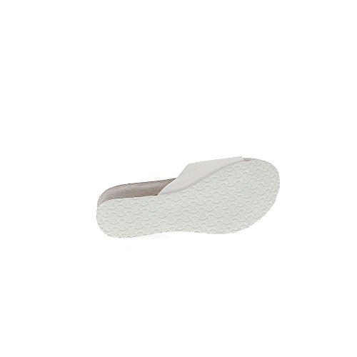Sabots compensés blancs à talon de 6,5cm et plateau de 3cm mats avec bride large