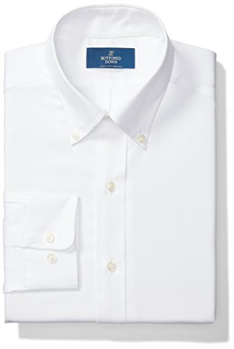 BUTTONED DOWN Men's Classic Fit Button-Collar Solid Non-Iron Dress Shirt (No Pocket), White, 16.5