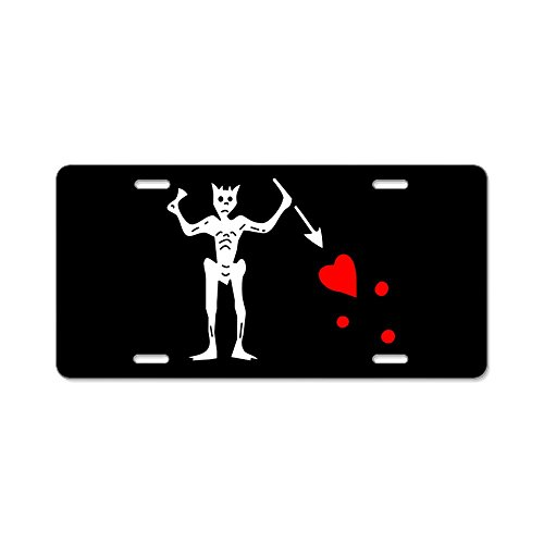 - CafePress - Blackbeard Flag Aluminum License Plate - Aluminum License Plate, Front License Plate, Vanity Tag
