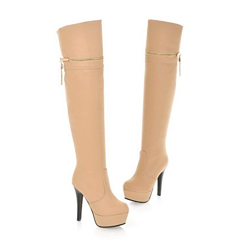 M PU AmoonyFashion 5 with Stiletto B High and 5 Solid Closed Round Platform Material Boots US Toe Apricot Heels Womens PU Soft rUrYqwR
