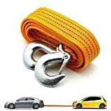 STARVIN Premium 4M Long || Super Strong Emergency Heavy Duty || Car Tow Cable || 3 Ton Towing Strap Rope || with Dual Forged Hooks || Yellow Colour || A-04
