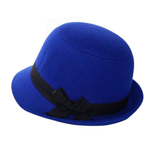 GODIWAN Wholesales Women Bowknot Beach Retro Felt Faux Woolen Fedora Hats Bowler Derby Caps Blue ()