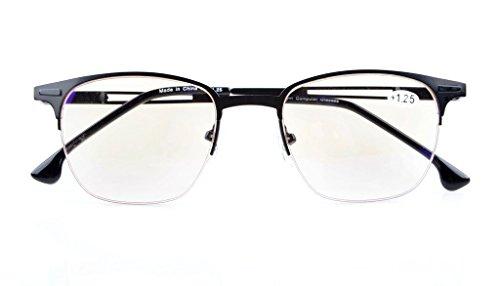 UV Protection,Anti Blue Rays,Reduce Eyestrain,Half-Rim Computer Reading Glasses(Black,Amber Tinted Lenses) +3.5 ()