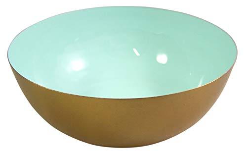 (Gold Toned Serving Bowl - Pastel Blue Decorative Salad Bowl, 8 Inch)