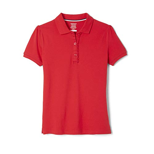 French Toast Girls' Toddler' Short Sleeve Stretch Ruffle Polo, Red, 4T