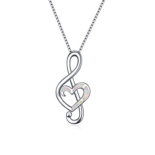 WINNICACA Music Note Necklace Sterling Silver White Fire Opal Dance Lover Pendant Necklaces for Women Girls Gifts ()