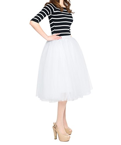 Women's High Waist Sweet A Line Pleated Midi/ Knee Length Bouffant Tulle Party Skirt (free size, white) ()