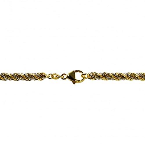 Cordon Chaîne bicolore en or et blanc 58545cm