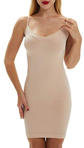 Belugue Women's Full Control Slip Shapewear Slim Cami Under Dress Body Shaping Layering Nude