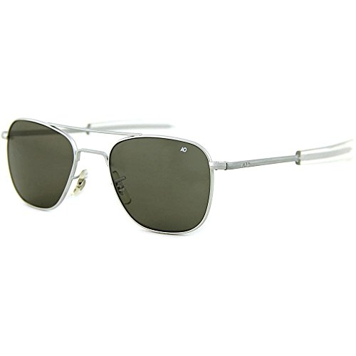 AO Eyewear Original Pilot Sunglasses 55mm Silver Frames with Bayonet Temples and True Color Grey Glass Lenses (OP55S.BA.TC)