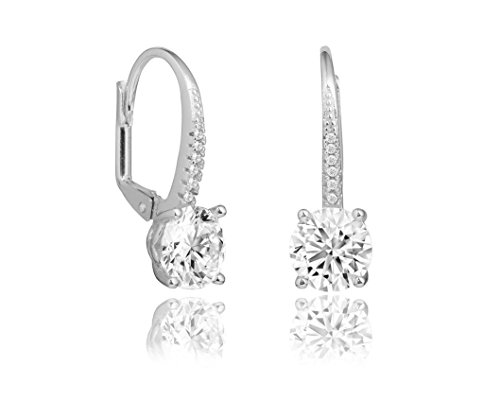 NYC Sterling Halo Round Cubic Zirconia Leverback Earrings (Silver)