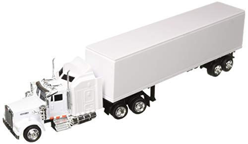 Peterbilt Tractor Trailer Diecast Toy - NewRay 15843 1:43 Trailer Kenworth W900 All White Diecast Vehicle, One Size, Long Haulter 1/43 Scale