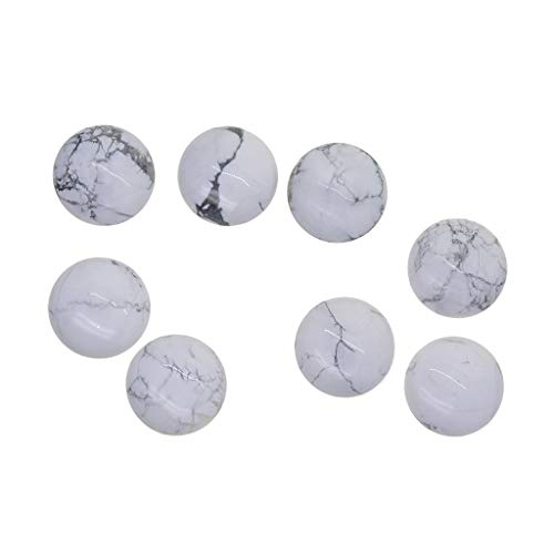 Fityle 6 Pack Howlite White Turquoise Gemstone Glass Dome Cabochons Round Cabochons Tiles Round 30mm for Cameo Pendants, Photo Jewelry, Rings, ()