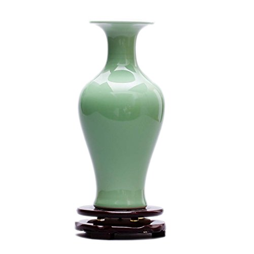 SUNHAI Ceramics Shadow Celadon Antique Vase Chinese Retro Living Room Entrance Decoration Crafts Ornaments (Color : 2)