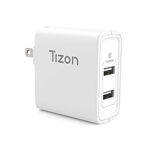 24W 2-port USB Travel Wall Charger w/I+power smart chip& foldable plug, Tizon Voyage for iPhone X, 8/8Plus, 7/7Plus, iPad Pro/Air 2, iPad mini 3,Samsung S8/S7/Edge/Plus&more (White) by Tizon
