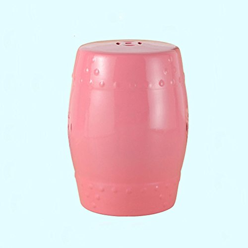 ch-AIR Stool Pink Ceramic Drum Stool Craft Porcelain Vanity Dressing Stool Shoe Bench Home Decoration Hand-Painted Table Pier Leisure Stool Sofa Foot 30X46CM 0612A (Color : Pink)