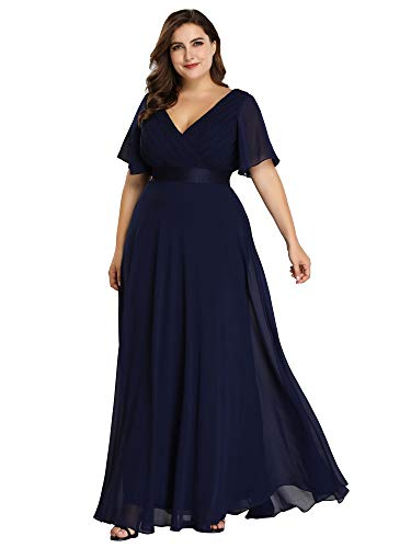 Ever-Pretty Womens Double V Neck Ruched Bust Flutter Sleeve Evening Dress 16 US Navy Blue