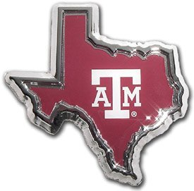 Texas A&M Aggies NCAA College Sports ''Color State Logo'' Chrome Plated Premium Metal Car Truck Motorcycle Emblem by Elektroplate