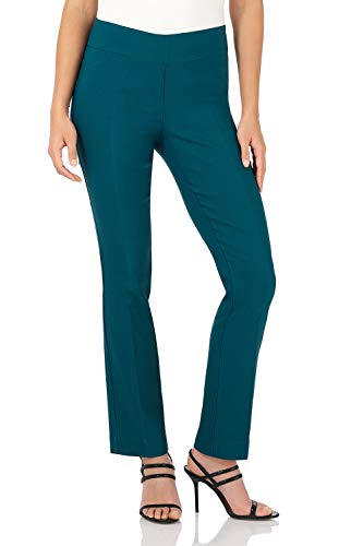 Rekucci Women's Ease in to Comfort Straight Leg Pant with Tummy Control (6SHORT,Teal)