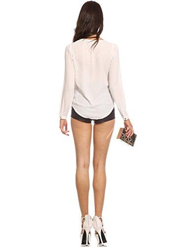 Blouse Xiang Shirt Zipp V Ru Blanc Longues Col Couleur Vogue Chemise T Uni Manches Zxqr8A0qTw