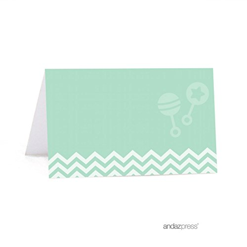 Andaz Press Mint Green Chevron Gender Neutral Baby Shower Collection, Table Tent Printable Place Cards, 20-Pack -