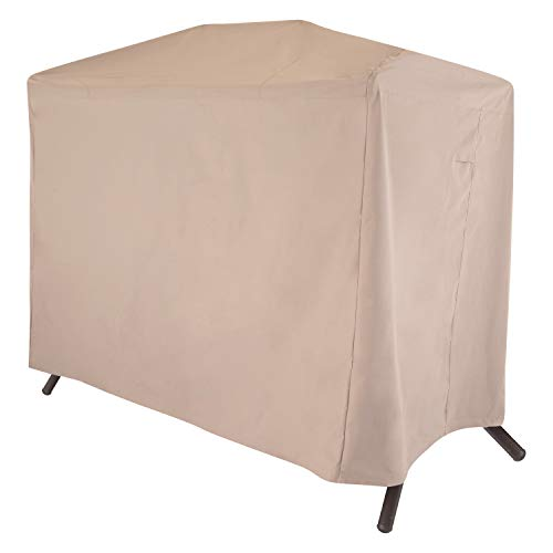 (Modern Leisure 2922 Chalet Two Seater Patio Canopy Swing Cover (87 L x 64 D x 66 H inches) Waterproof, Khaki/Fossil)