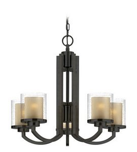 78 Bolivian Finish - Dolan Designs 2950-78 Horizon - Five Light Chandelier, Bolivian Bronze Finish with Clear Seedy/Honey Amber Glass