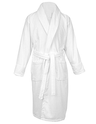 LUXEHOME 100% Cotton Terry Bathrobe Luxury Shawl Collar Soft Spa Robes for Women and Men, White