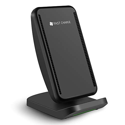 PEMENOL Fast Wireless Charger Fan Compatible with iPhone Xs MAX/XS/X/X Plus/8/8 Plus,Qi-Enabled Charging Stand Compatible with Samsung Galaxy S9 plus/S8/S8 Plus/S7 Edge/S6 Edge (Black)(No Adapter)