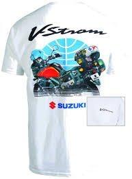 Suzuki Vstrom V-Strom DL650/1000 Travel T-Shirt White Large LRG L by Suzuki (Image #1)