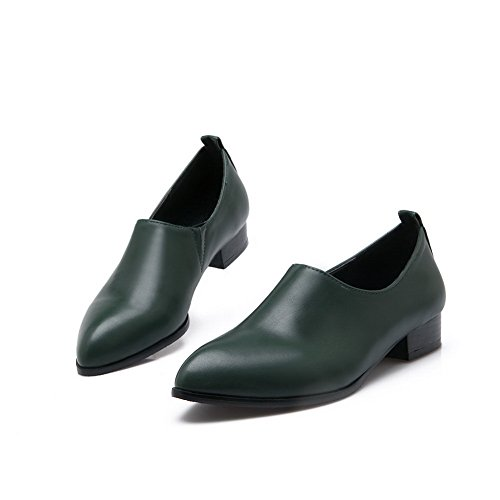 BalaMasa Ladies Pointed-Toe Square Heels No-Closure Urethane Flats Shoes Green NkNKHpSO