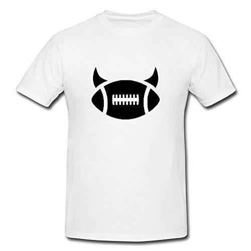 SSTS Print Football Devil Horns Design T-Shirt T-Shirt Cotton - Modern Look (Medium) White