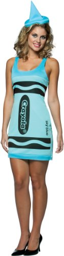 [Rasta Imposta Crayola Sky Blue Tank Dress Adult Costume-4-10] (Womens Tank Dress Wonder Woman Costumes)