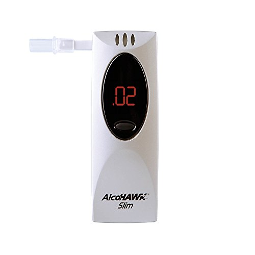 (AlcoHAWK Slim Breathalyzer, Semi-Conductor Sensor Breath Alcohol Tester, Portable Personal use Alcohol Detector, Highly Accurate and Fast Results, BAC Tracker Digital LED screen includes 3 Mouthpieces)