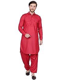 SKAVIJ Men's Cotton Pathani Kurta Pajama Set Indian Fashion Dress
