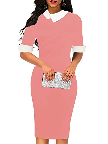 oxiuly Women's Retro Bodycon Knee-Length Formal Office Dresses Pencil Dress OX276 (S, Pink Solid) -