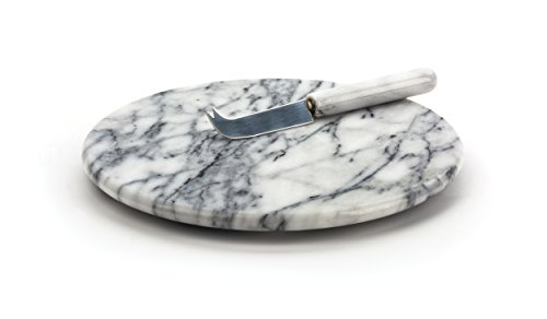 RSVP White Marble Cheese Board & Knife ()
