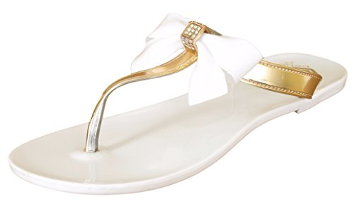 Price comparison product image 'Bebe Girls\' T-Strap Bow and Rhinestone White Jelly Thong Sandals, Size 13-1'