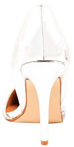 Elara Damen Pumps | Spitze Stiletto High Heels | Moderne Pumps Silber Paris