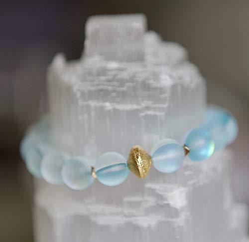 (Clear Aqua Mermaid Glass Bead & Gold-Plated Stretch Bracelet)